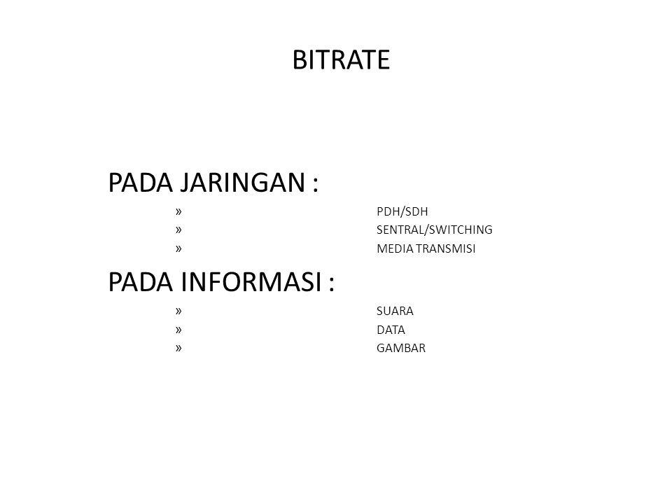BITRATE PADA JARINGAN : PADA INFORMASI : PDH/SDH SENTRAL/SWITCHING