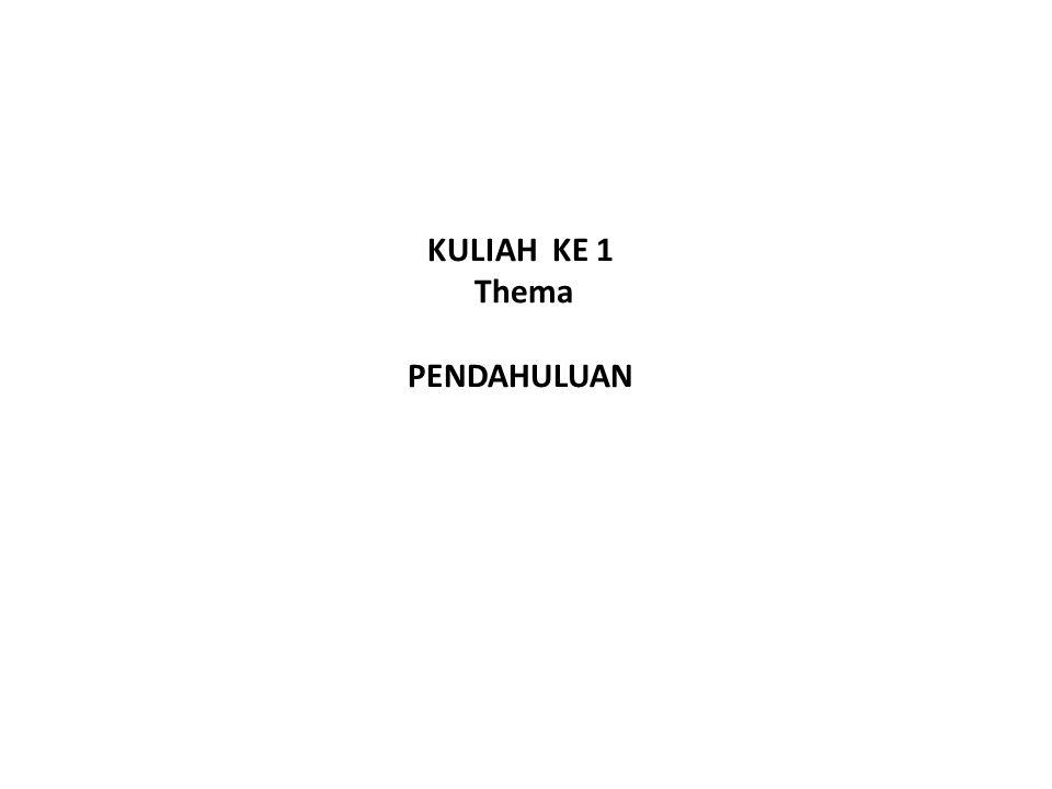 KULIAH KE 1 Thema PENDAHULUAN