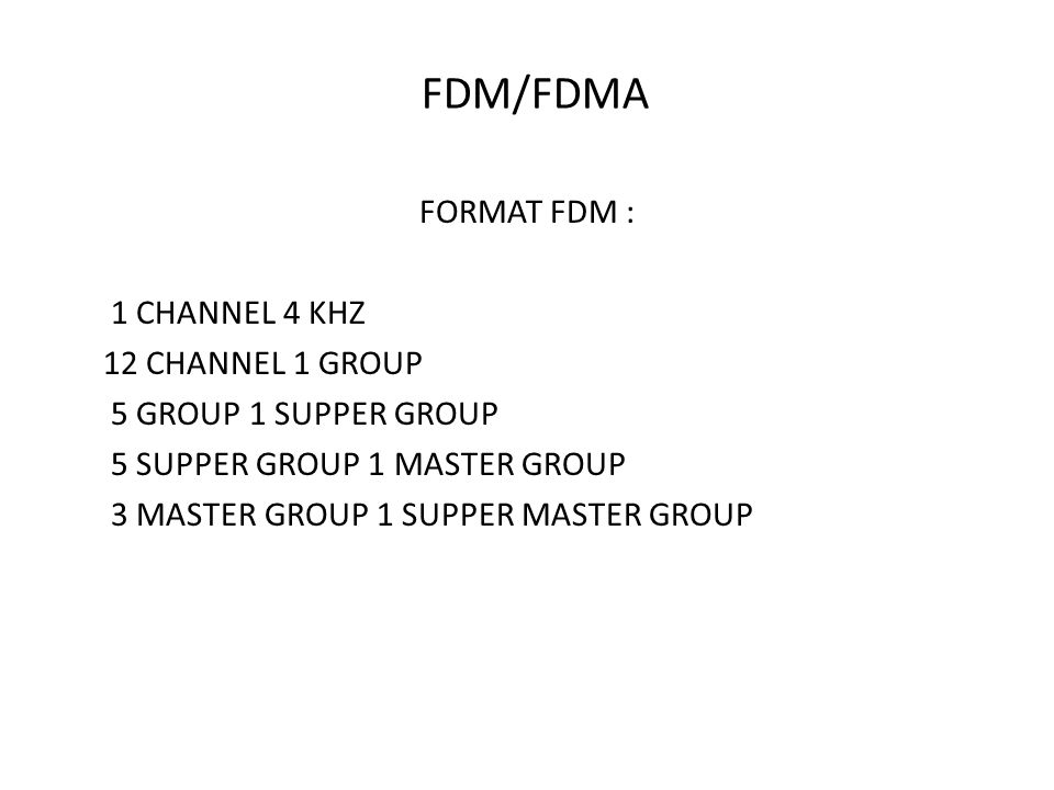 FDM/FDMA FORMAT FDM : 1 CHANNEL 4 KHZ 12 CHANNEL 1 GROUP