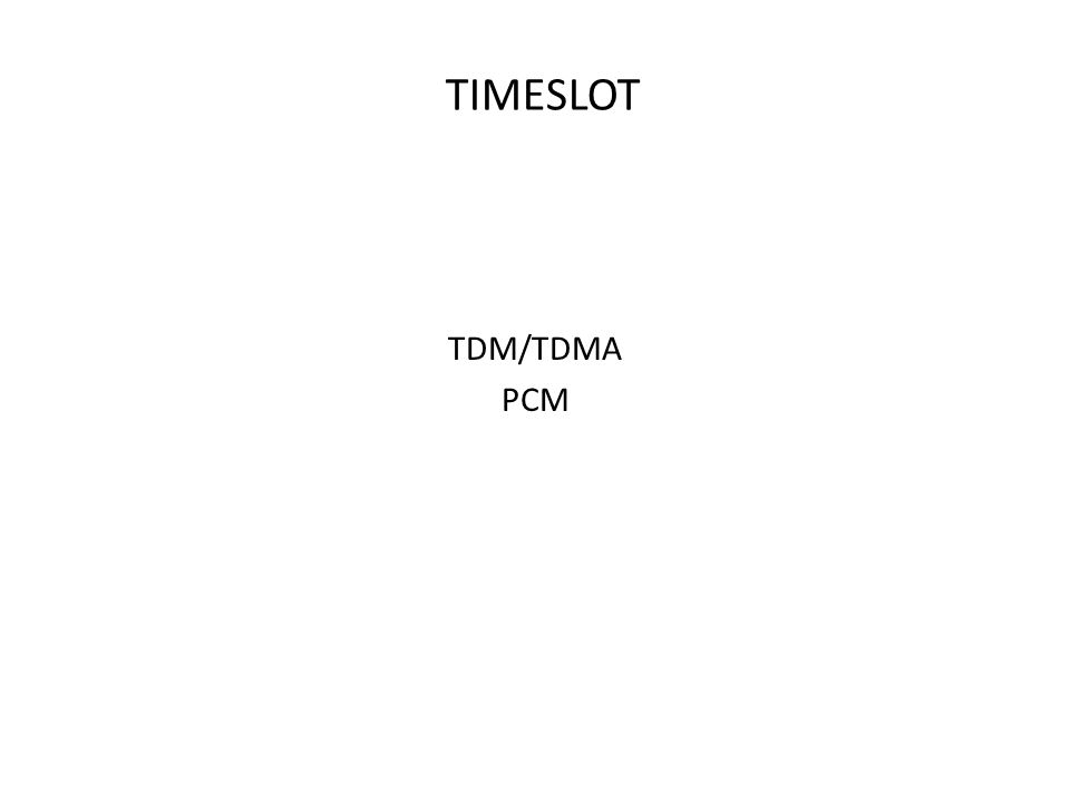 TIMESLOT TDM/TDMA PCM