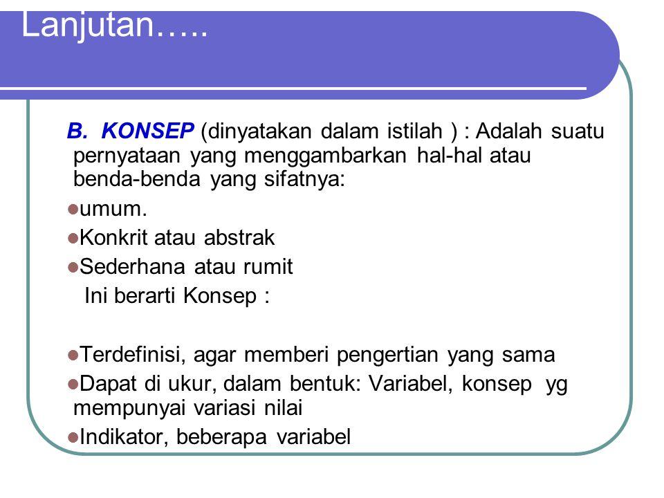Lanjutan….. B. KONSEP (dinyatakan dalam istilah ) : Adalah suatu pernyataan yang menggambarkan hal-hal atau benda-benda yang sifatnya: