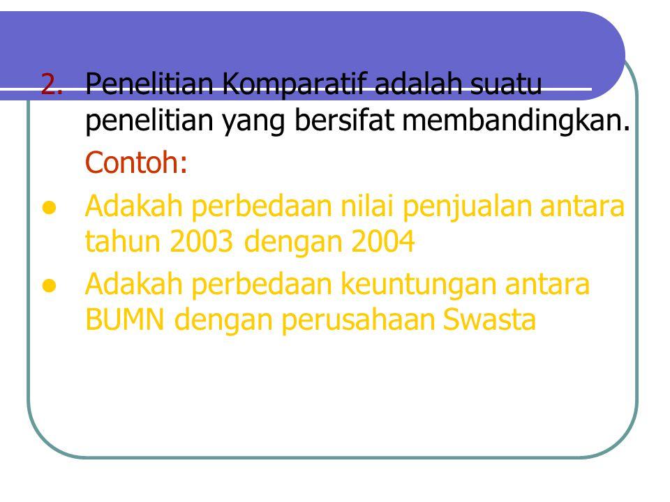 Penelitian Komparatif adalah suatu penelitian yang bersifat membandingkan.