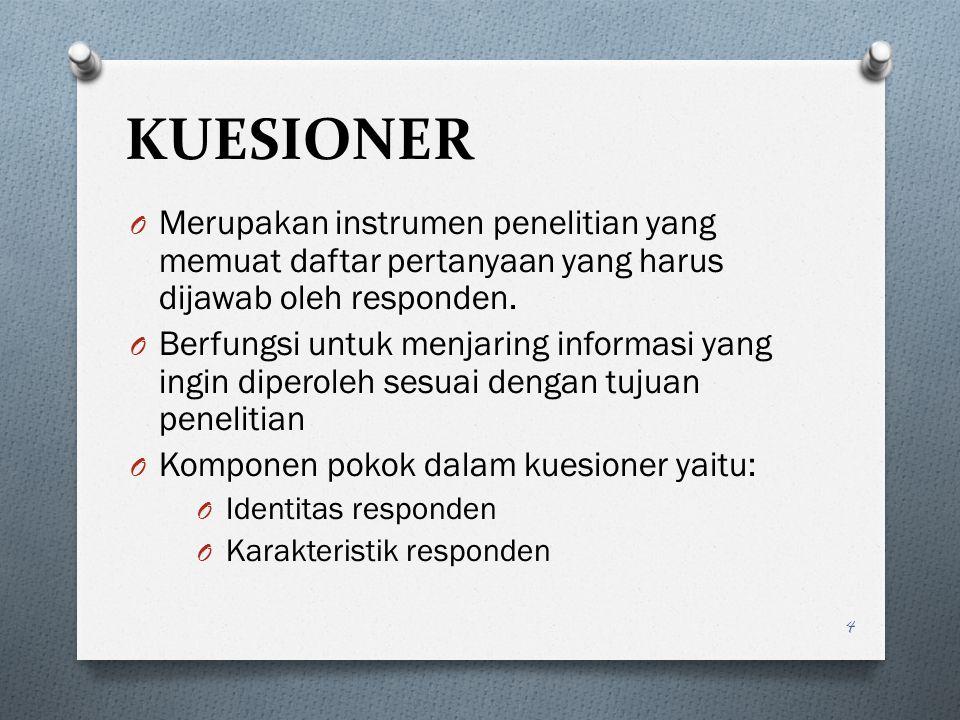 KUESIONER Merupakan instrumen penelitian yang memuat daftar pertanyaan yang harus dijawab oleh responden.