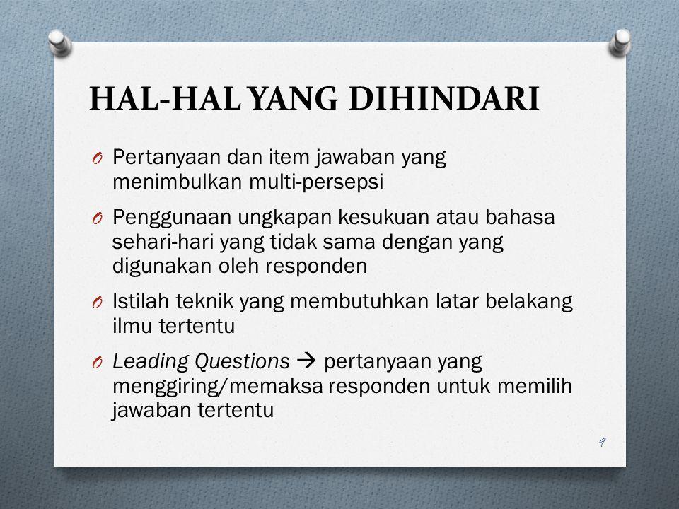 HAL-HAL YANG DIHINDARI