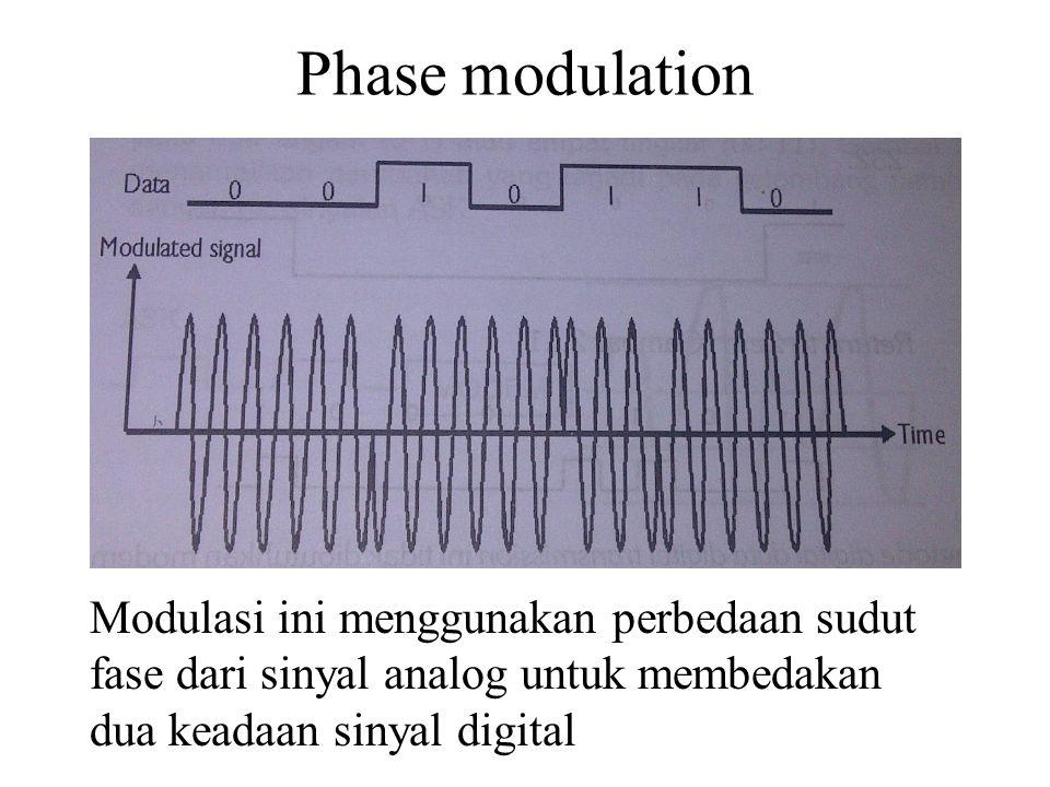 Phase modulation Modulasi ini menggunakan perbedaan sudut fase dari sinyal analog untuk membedakan dua keadaan sinyal digital.