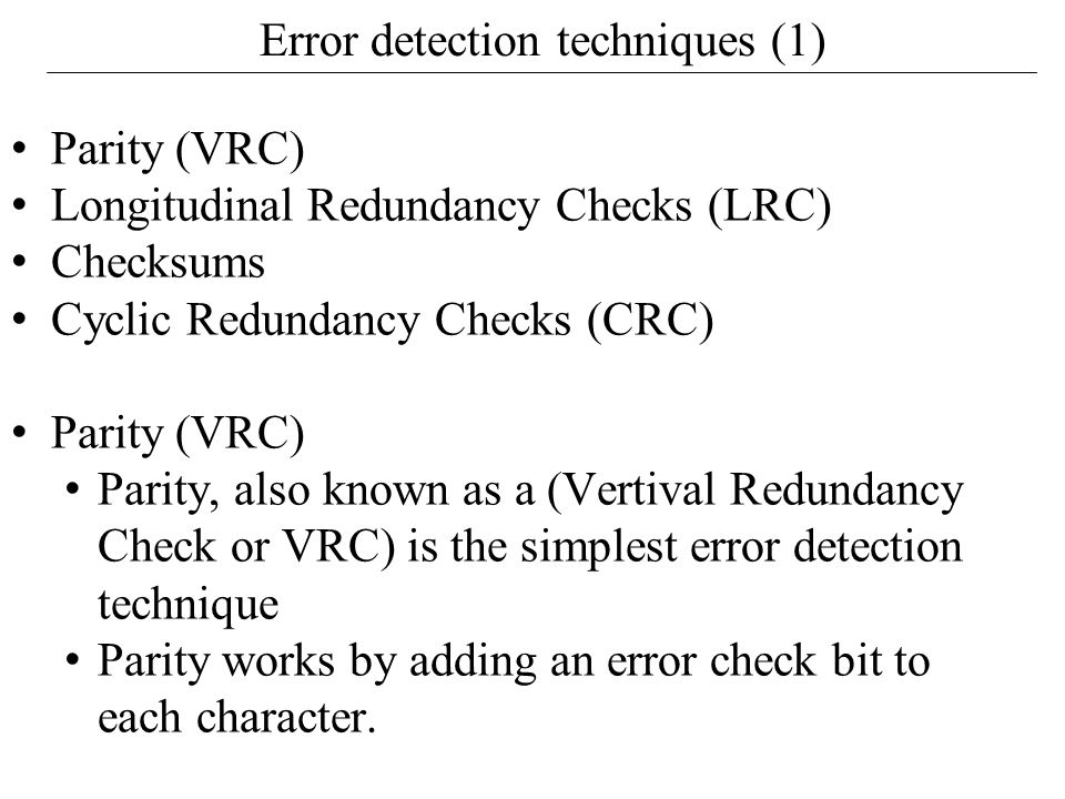 Error detection techniques (1)