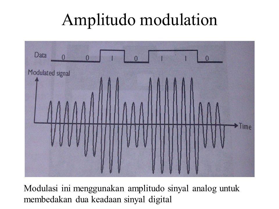 Amplitudo modulation Modulasi ini menggunakan amplitudo sinyal analog untuk membedakan dua keadaan sinyal digital.