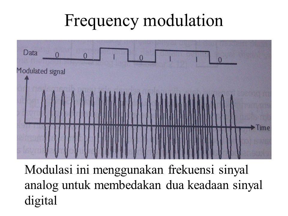 Frequency modulation Modulasi ini menggunakan frekuensi sinyal analog untuk membedakan dua keadaan sinyal digital.