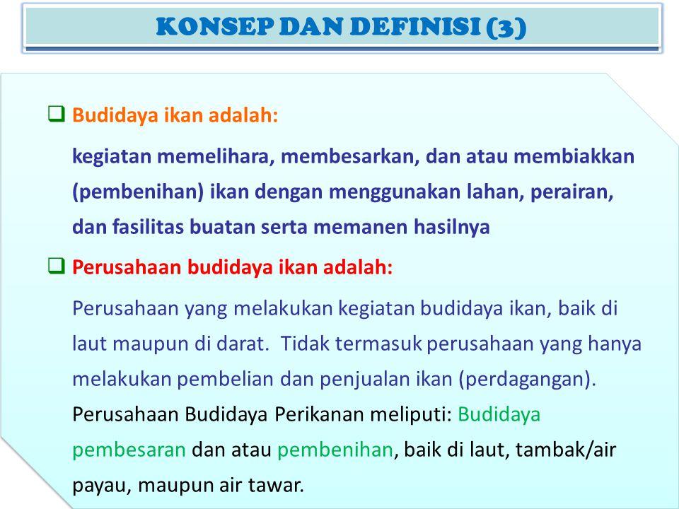 KONSEP DAN DEFINISI (3) Budidaya ikan adalah: