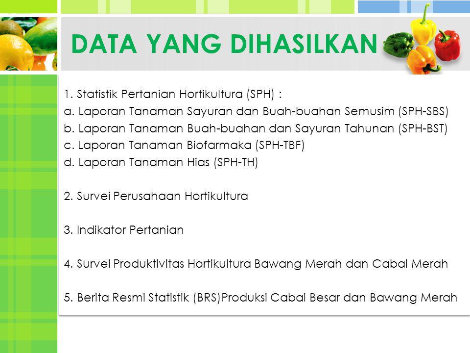 DATA YANG DIHASILKAN 1. Statistik Pertanian Hortikultura (SPH) :