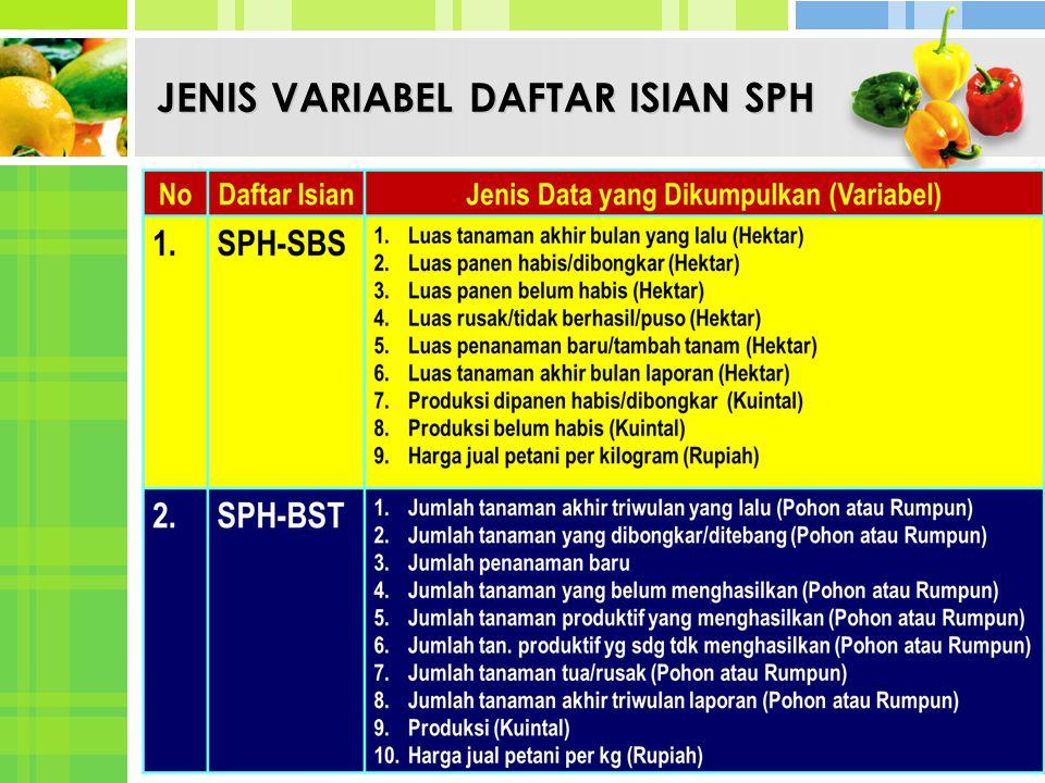 JENIS VARIABEL DAFTAR ISIAN SPH