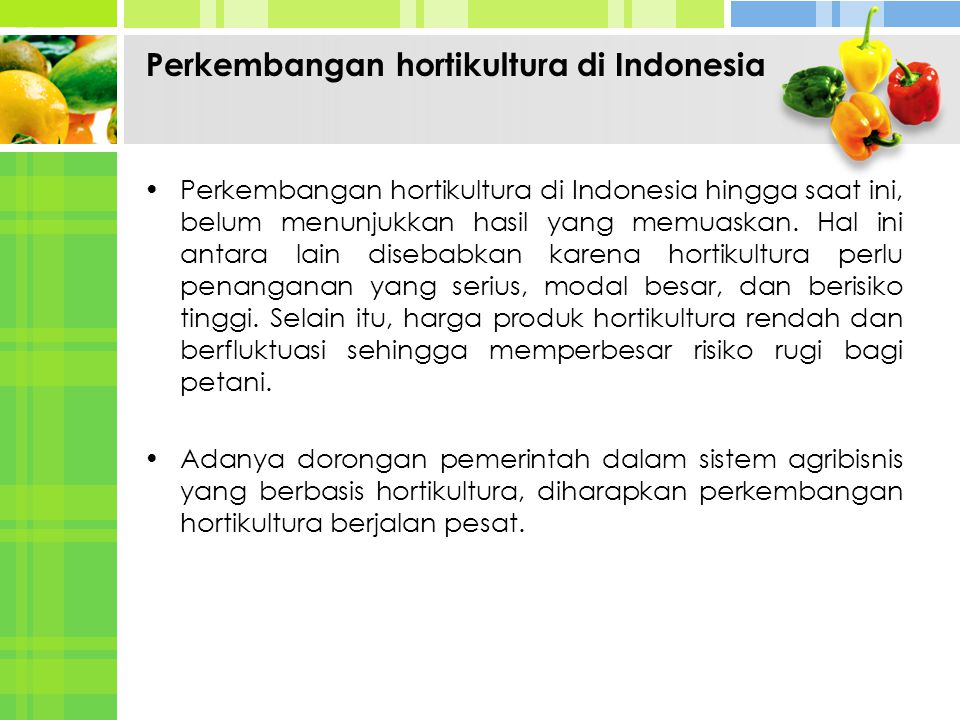 Perkembangan hortikultura di Indonesia