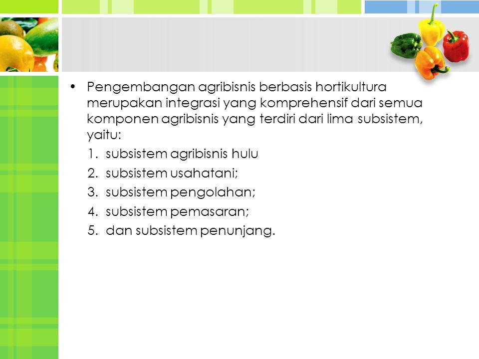 Pengembangan agribisnis berbasis hortikultura merupakan integrasi yang komprehensif dari semua komponen agribisnis yang terdiri dari lima subsistem, yaitu: