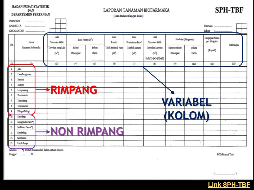 RIMPANG VARIABEL (KOLOM) NON RIMPANG Link SPH-TBF