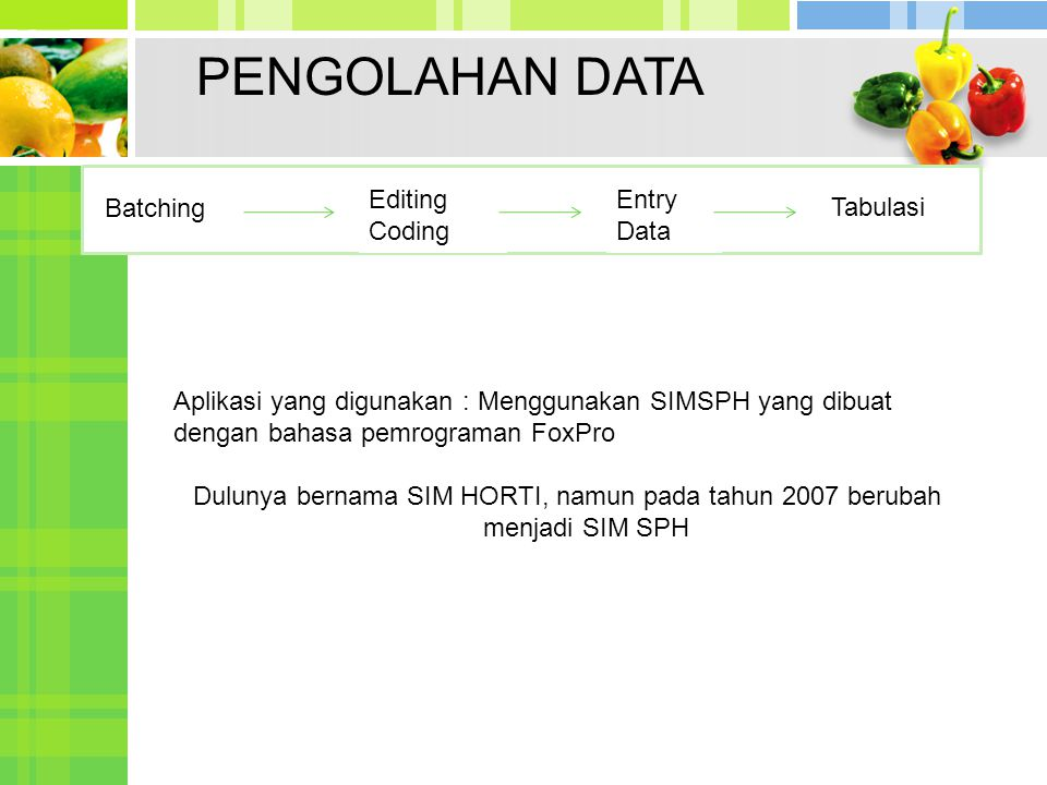 PENGOLAHAN DATA Editing Coding Entry Data Batching Tabulasi