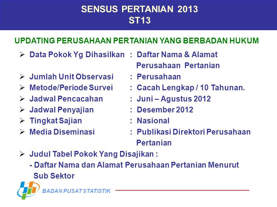 SENSUS PERTANIAN 2013 ST13. UPDATING PERUSAHAAN PERTANIAN YANG BERBADAN HUKUM. Data Pokok Yg Dihasilkan : Daftar Nama & Alamat.