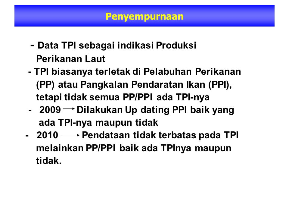 - Data TPI sebagai indikasi Produksi