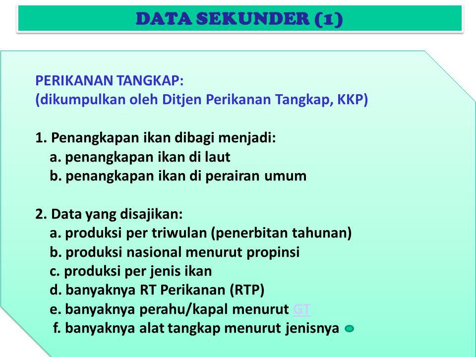 DATA SEKUNDER (1) PERIKANAN TANGKAP: