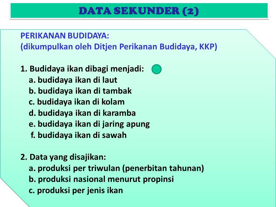 DATA SEKUNDER (2) PERIKANAN BUDIDAYA: