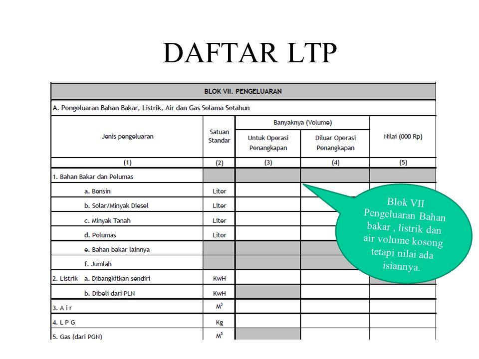 DAFTAR LTP Blok VII Pengeluaran Bahan bakar , listrik dan air volume kosong tetapi nilai ada isiannya.