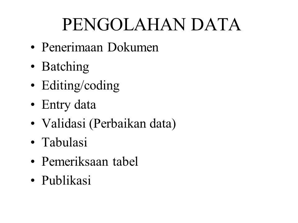 PENGOLAHAN DATA Penerimaan Dokumen Batching Editing/coding Entry data