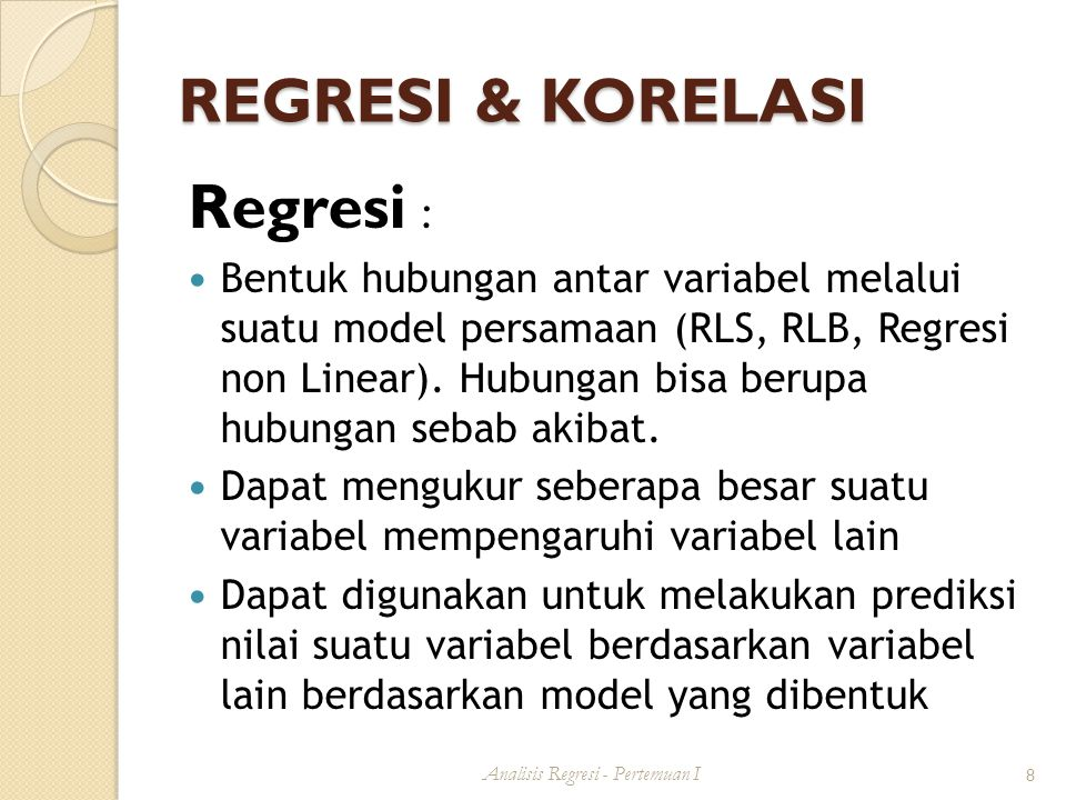 Analisis Regresi - Pertemuan I