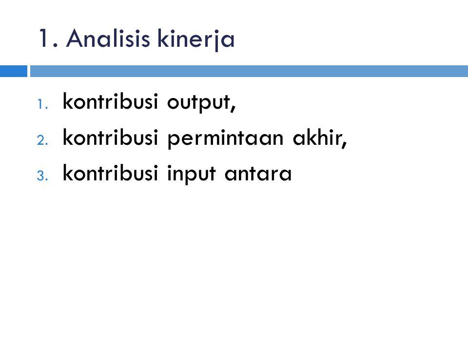 1. Analisis kinerja kontribusi output, kontribusi permintaan akhir,