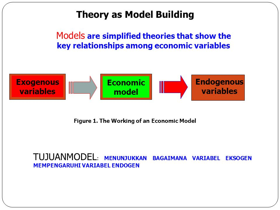 Theory as Model Building Figure 1. The Working of an Economic Model