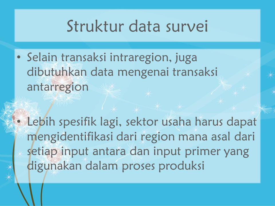 Struktur data survei Selain transaksi intraregion, juga dibutuhkan data mengenai transaksi antarregion.
