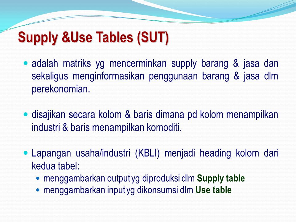 Supply &Use Tables (SUT)