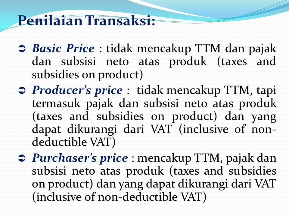 Penilaian Transaksi:  Basic Price : tidak mencakup TTM dan pajak dan subsisi neto atas produk (taxes and subsidies on product)