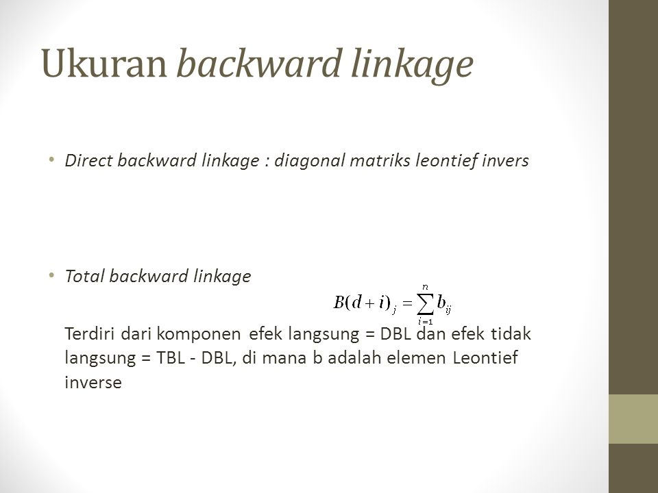 Ukuran backward linkage