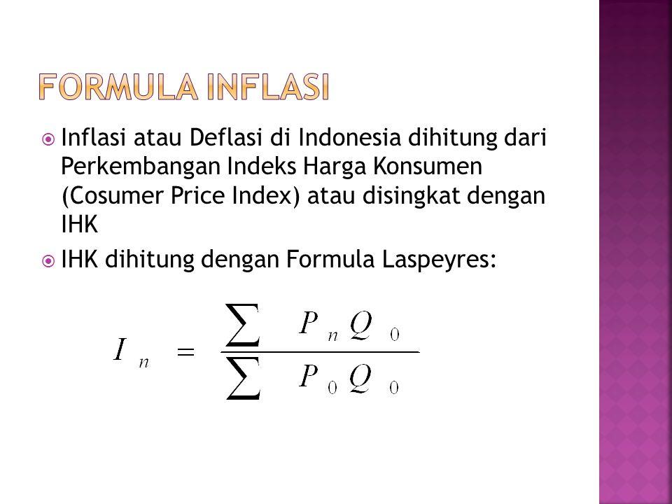FORMULA INFLASI Inflasi atau Deflasi di Indonesia dihitung dari Perkembangan Indeks Harga Konsumen (Cosumer Price Index) atau disingkat dengan IHK.