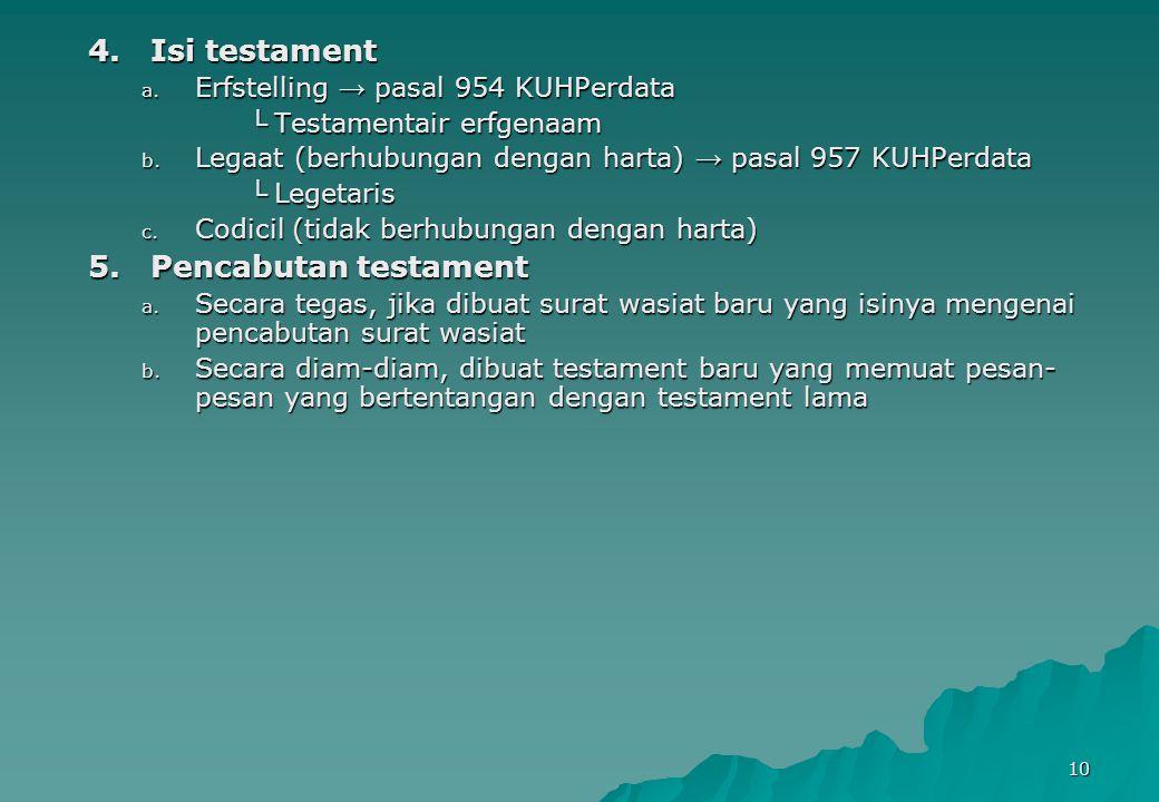 Isi testament Pencabutan testament Erfstelling → pasal 954 KUHPerdata