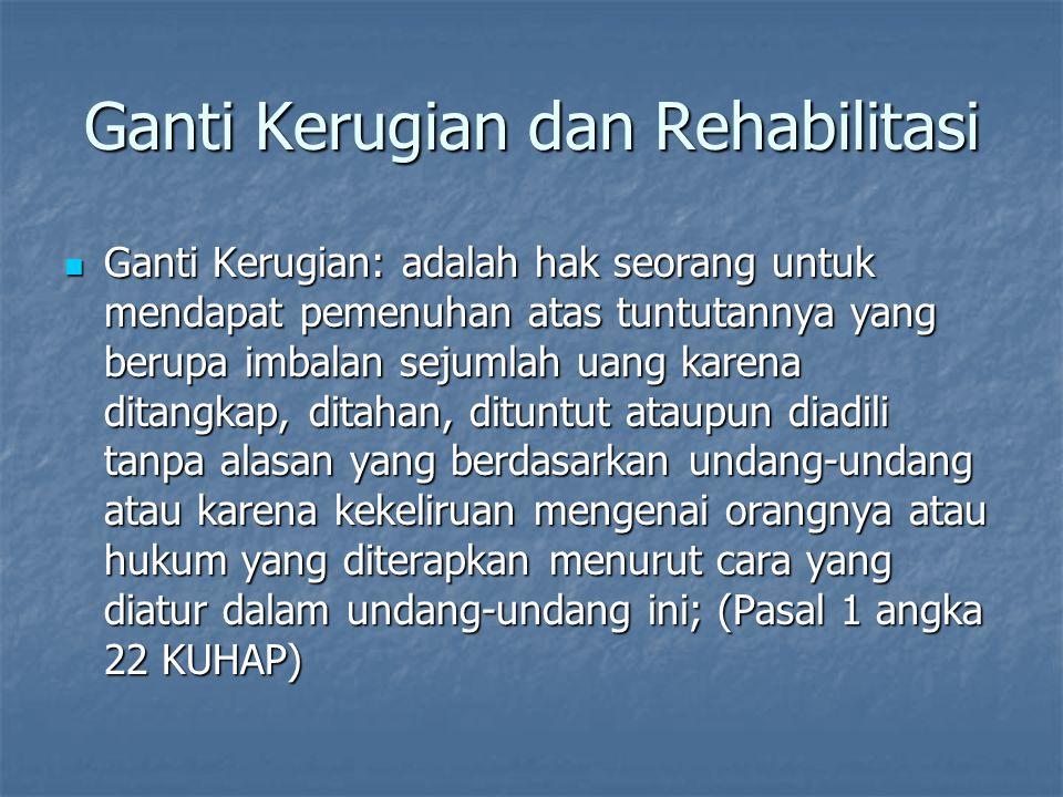 Ganti Kerugian dan Rehabilitasi