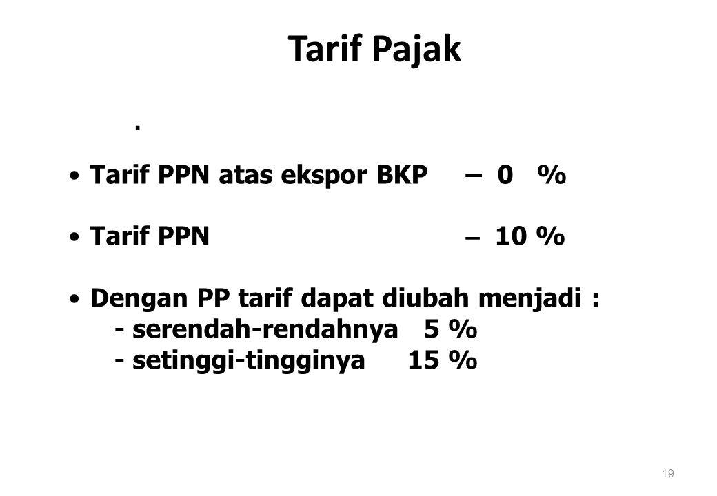 Tarif Pajak Tarif PPN atas ekspor BKP – 0 % Tarif PPN – 10 %