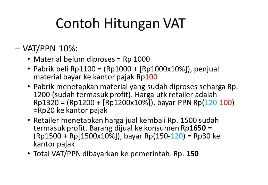 Contoh Hitungan VAT VAT/PPN 10%: Material belum diproses = Rp 1000