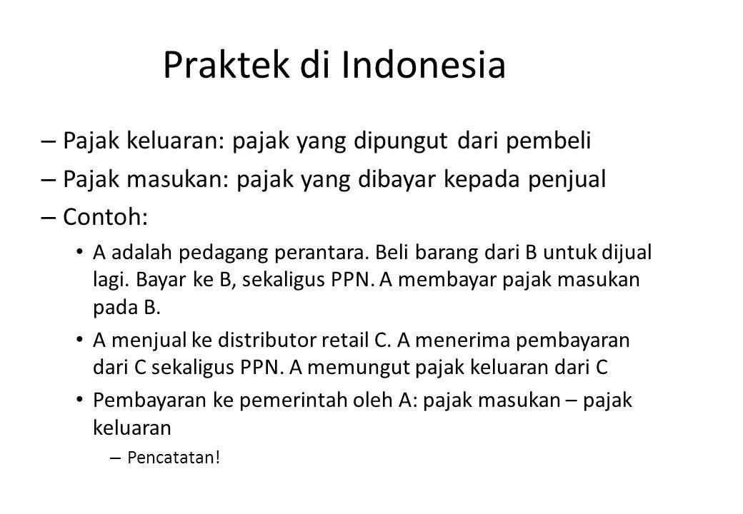 Praktek di Indonesia Pajak keluaran: pajak yang dipungut dari pembeli