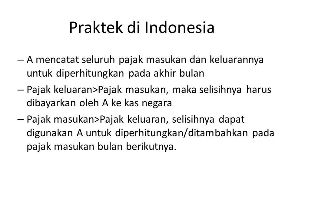 Praktek di Indonesia A mencatat seluruh pajak masukan dan keluarannya untuk diperhitungkan pada akhir bulan.