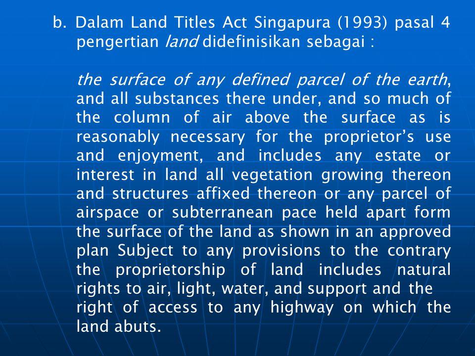 Dalam Land Titles Act Singapura (1993) pasal 4