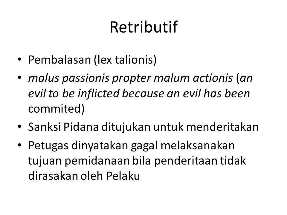 Retributif Pembalasan (lex talionis)