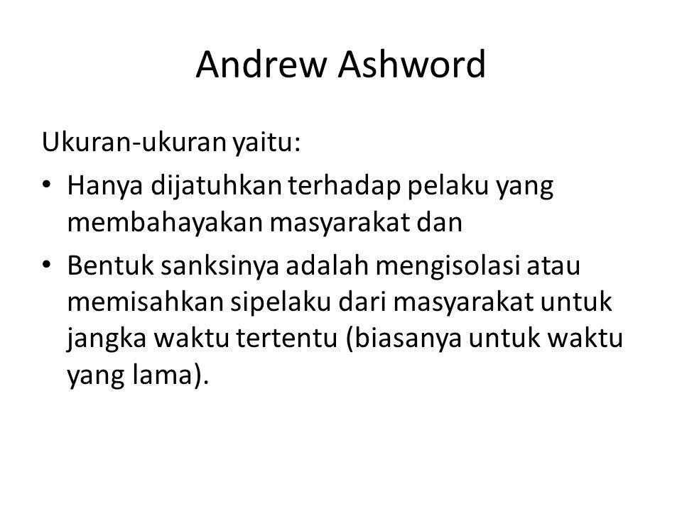 Andrew Ashword Ukuran-ukuran yaitu: