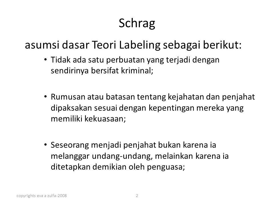 Schrag asumsi dasar Teori Labeling sebagai berikut: