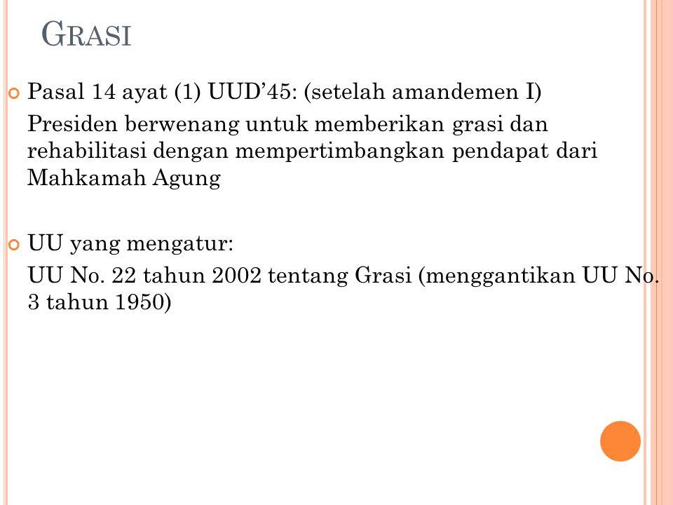 Grasi Pasal 14 ayat (1) UUD'45: (setelah amandemen I)