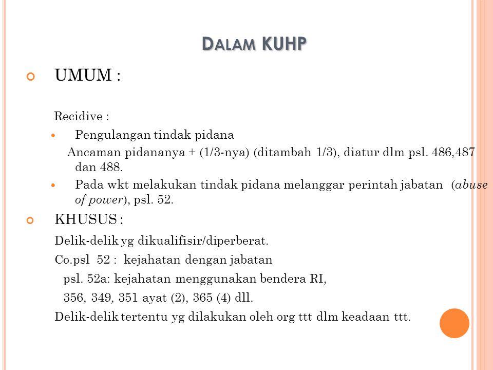 Dalam KUHP UMUM : Recidive : KHUSUS :