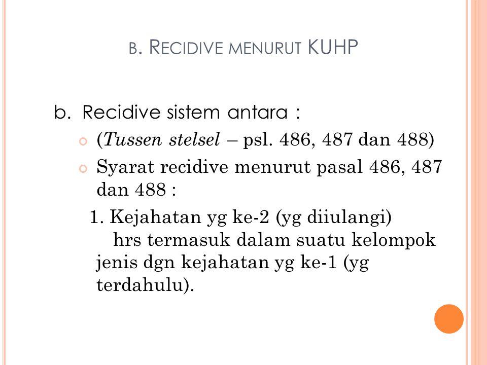 b. Recidive menurut KUHP