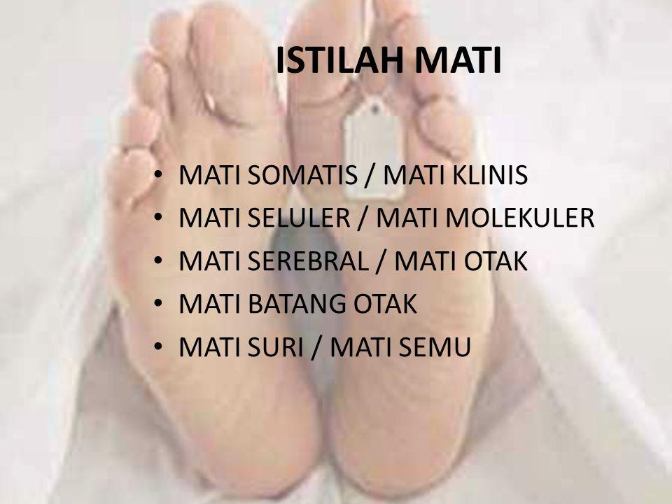 ISTILAH MATI MATI SOMATIS / MATI KLINIS MATI SELULER / MATI MOLEKULER