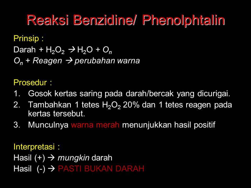 Reaksi Benzidine/ Phenolphtalin