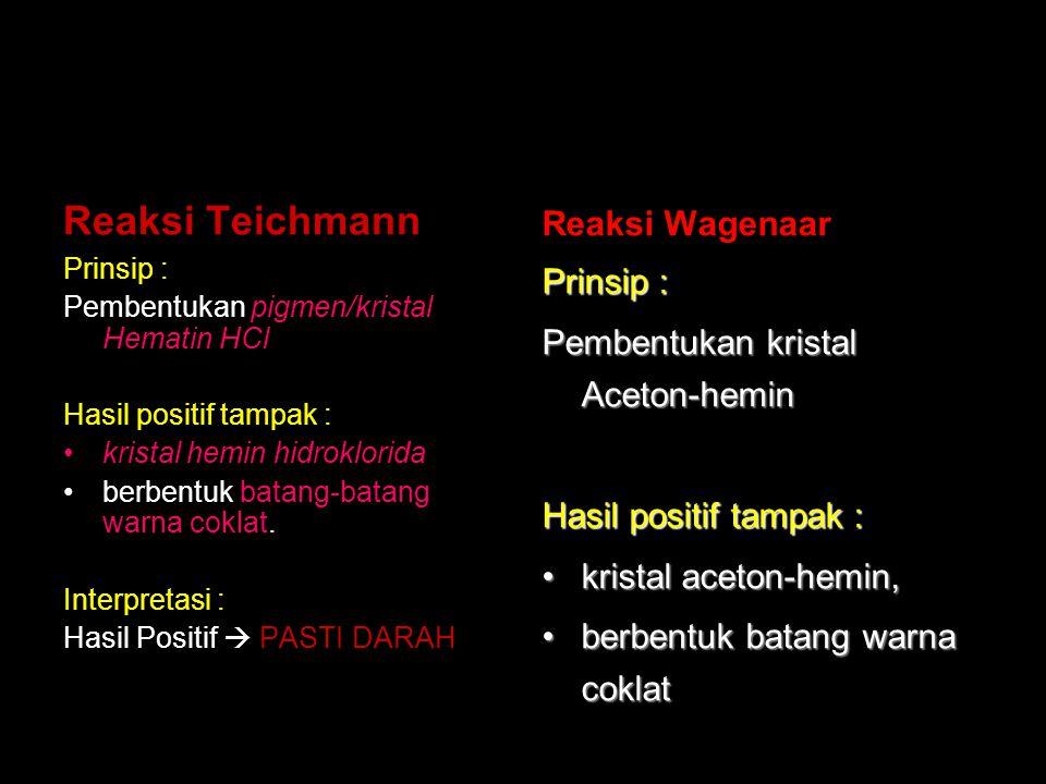 Reaksi Teichmann Reaksi Wagenaar Prinsip :