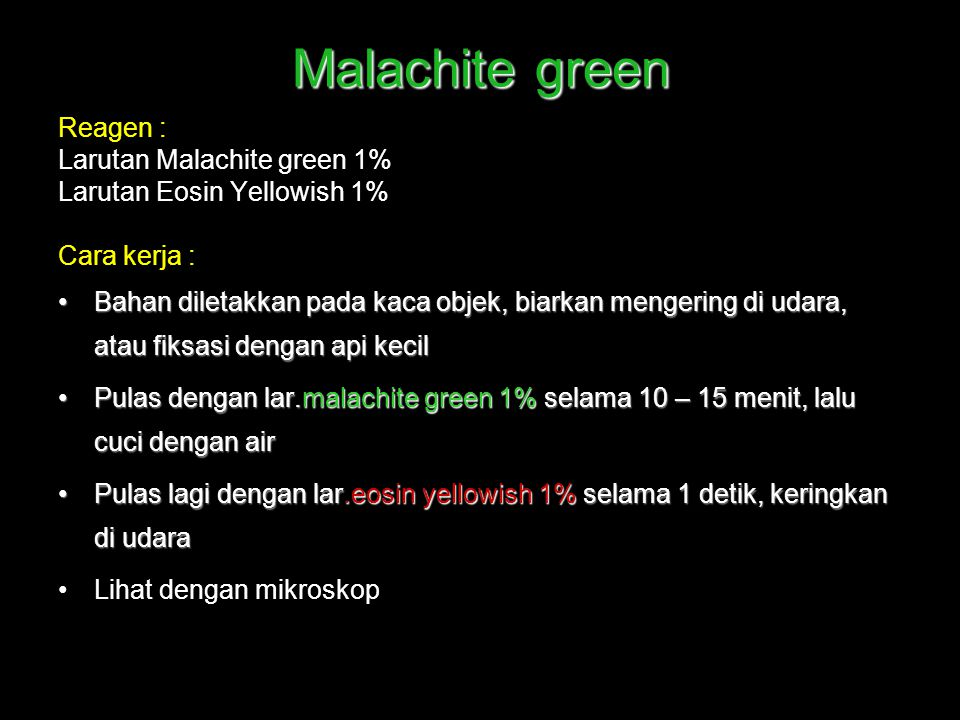 Malachite green Reagen : Larutan Malachite green 1%